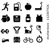 Fitness, health and diet icon set - stock vector