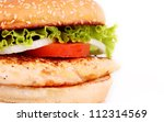 delicious chicken burger with lettuce and tomato - stock photo