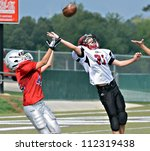 CUMMING, GA/USA - SEPTEMBER 8: Unidentified boys fighting for the pass at the goal line. Two teams of 7th grade boys September 8, 2012 in Cumming GA. The Wildcats  vs The Mustangs. - stock photo