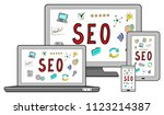 seo concept on different... | Shutterstock . vector #1123214387