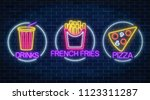 set of three neon glowing signs ... | Shutterstock . vector #1123311287