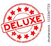 grunge red deluxe word with... | Shutterstock .eps vector #1123367723