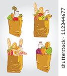 Paper bag with  food bread and fruits, vegetable vector illustration - stock vector