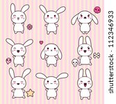 Collection of funny and cute happy kawaii rabbits.