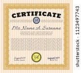 orange certificate of... | Shutterstock .eps vector #1123497743