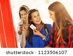 group of girl friends tourists... | Shutterstock . vector #1123506107
