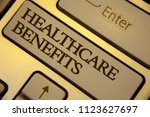 Small photo of Conceptual hand writing showing Healthcare Benefits. Business photo text it is insurance that covers the medical expenses Keyboard grey keys yellow background computer message keypad.