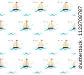 yacht with waves seamless... | Shutterstock .eps vector #1123708787
