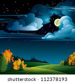 Autumn night with yellow full moon and  trees on a cloudy starry sky - stock vector
