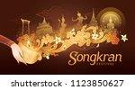 songkran festival in thailand... | Shutterstock .eps vector #1123850627