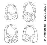 headphones vector illustration  ... | Shutterstock .eps vector #1123860377
