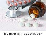 stethoscope  pills  in medical... | Shutterstock . vector #1123903967