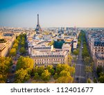 View on Paris at sunset, France - stock photo