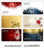 Set of cards with Christmas BALLS, stars and snowflakes, illustration - stock vector