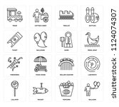 set of 16 icons such as balloon ...