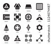set of 16 icons such as edges ... | Shutterstock .eps vector #1124074487