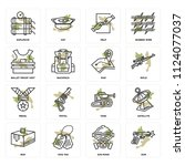 set of 16 icons such as gun ...