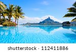 Beautiful view of Otemanu mountain on Bora Bora island - stock photo