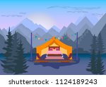 glamping. tent with a bed among ...   Shutterstock .eps vector #1124189243