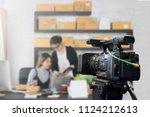 behind the film shooting video... | Shutterstock . vector #1124212613