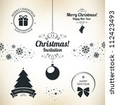 christmas and new year symbols... | Shutterstock .eps vector #112423493