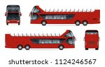open tour bus vector mockup on... | Shutterstock .eps vector #1124246567