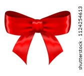 red silk ribbon bow. vector 3d... | Shutterstock .eps vector #1124254613
