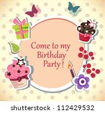 birthday party  invitation card - stock vector