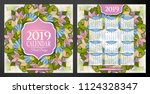 colored 2019 year calendar... | Shutterstock .eps vector #1124328347