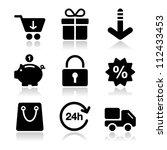 shopping on internet black... | Shutterstock .eps vector #112433453