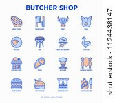 butcher shop thin line icons... | Shutterstock .eps vector #1124438147
