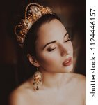 beautiful woman model with... | Shutterstock . vector #1124446157