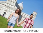 young couple of tourists in pisa | Shutterstock . vector #112445987