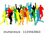 colorful silhouettes of people... | Shutterstock .eps vector #1124463863