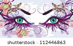 floral makeup  with butterflies ... | Shutterstock .eps vector #112446863