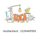 cartoon working little people... | Shutterstock .eps vector #1124469503