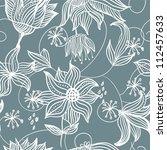 seamless blue floral pattern | Shutterstock . vector #112457633