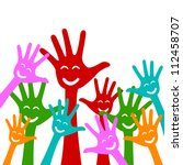 Colorful Raised Hands With...