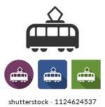 tram icon in different variants ... | Shutterstock . vector #1124624537
