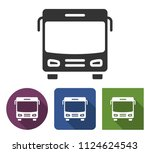 bus icon in different variants... | Shutterstock . vector #1124624543