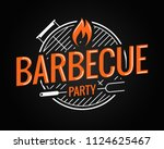 barbecue grill logo on black... | Shutterstock .eps vector #1124625467