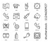 set of 16 icons such as socket  ...