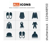 garment icons set with scarf ... | Shutterstock .eps vector #1124648933