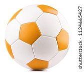 leather soccer ball isolated on ... | Shutterstock . vector #1124665427