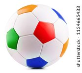 leather soccer ball isolated on ... | Shutterstock . vector #1124665433