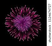 beautiful heart firework. pink... | Shutterstock .eps vector #1124674727