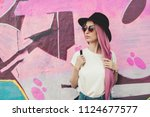 beautiful stylish young hipster ... | Shutterstock . vector #1124677577