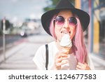 happy young hipster woman with... | Shutterstock . vector #1124677583