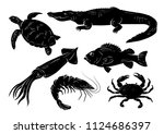 sea animals set on white... | Shutterstock .eps vector #1124686397