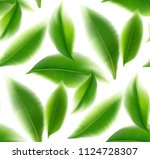 green tea leaves seamless and... | Shutterstock .eps vector #1124728307